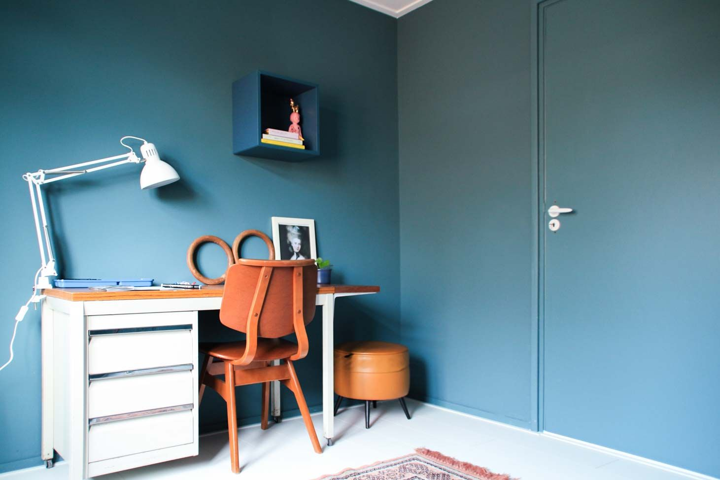 Studeerkamer in Country Blue krijtverf en lakverf