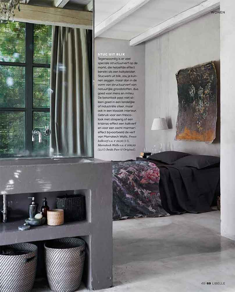 Fresco lime paint and Marrakech Walls are sustainable wallpaints