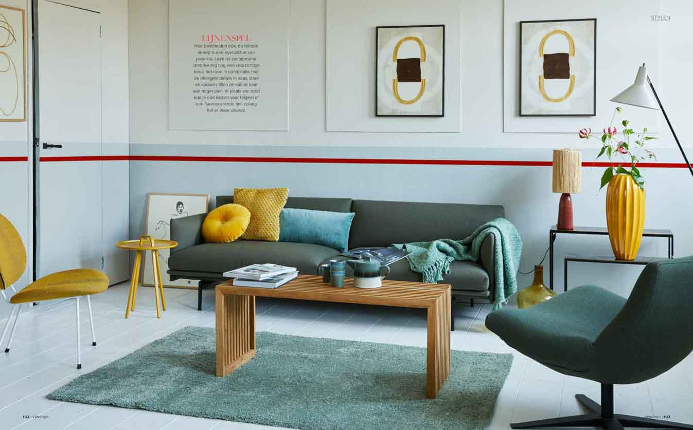 Living room with pastel blue and white walls with a red colour stripe accent on the wall, yellow fur