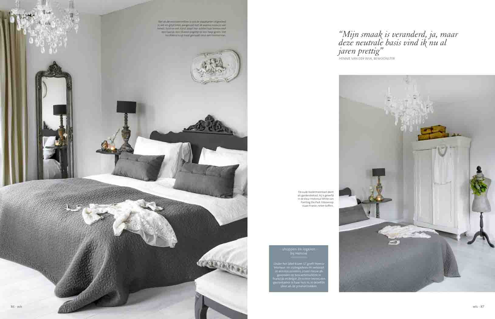 Bedroom in white and grey tones